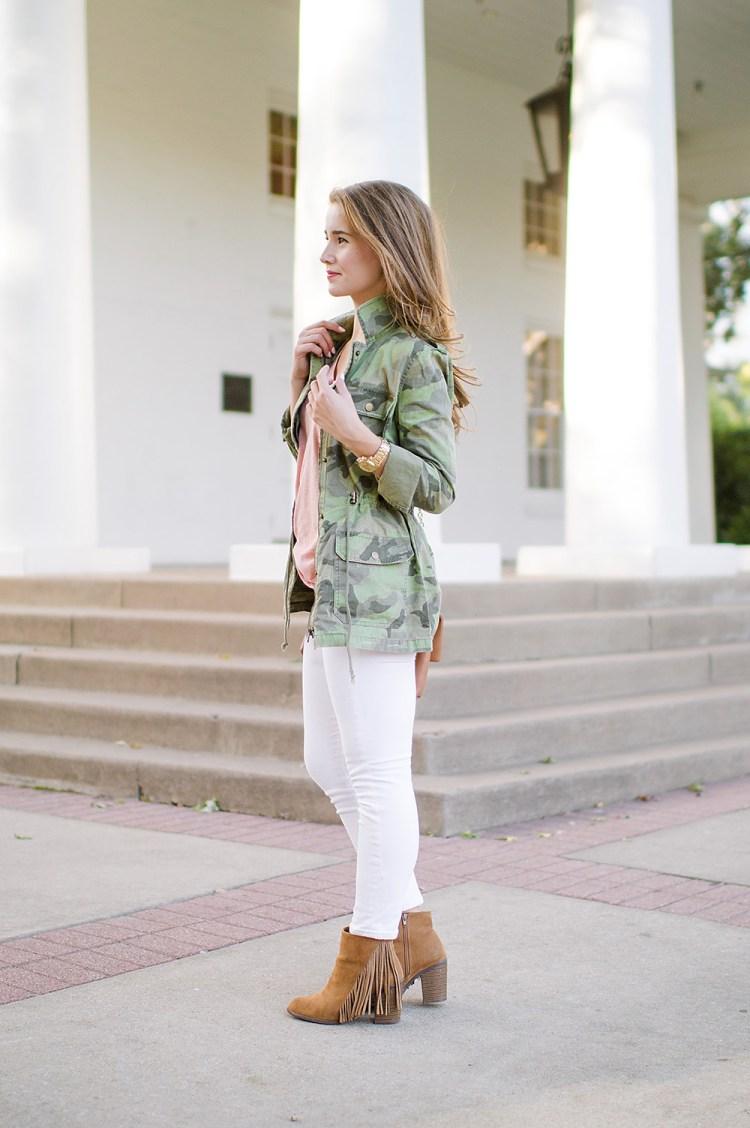 camo utility jacket, fringe booties