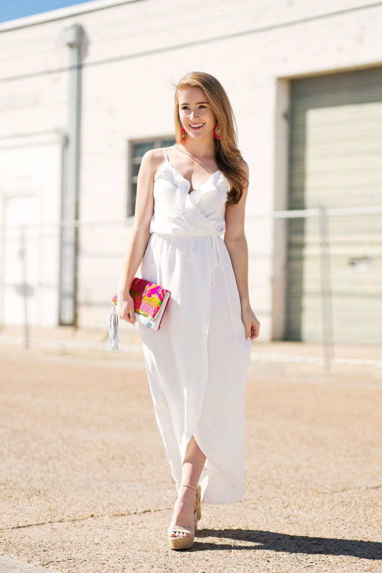 white ruffle maxi dress