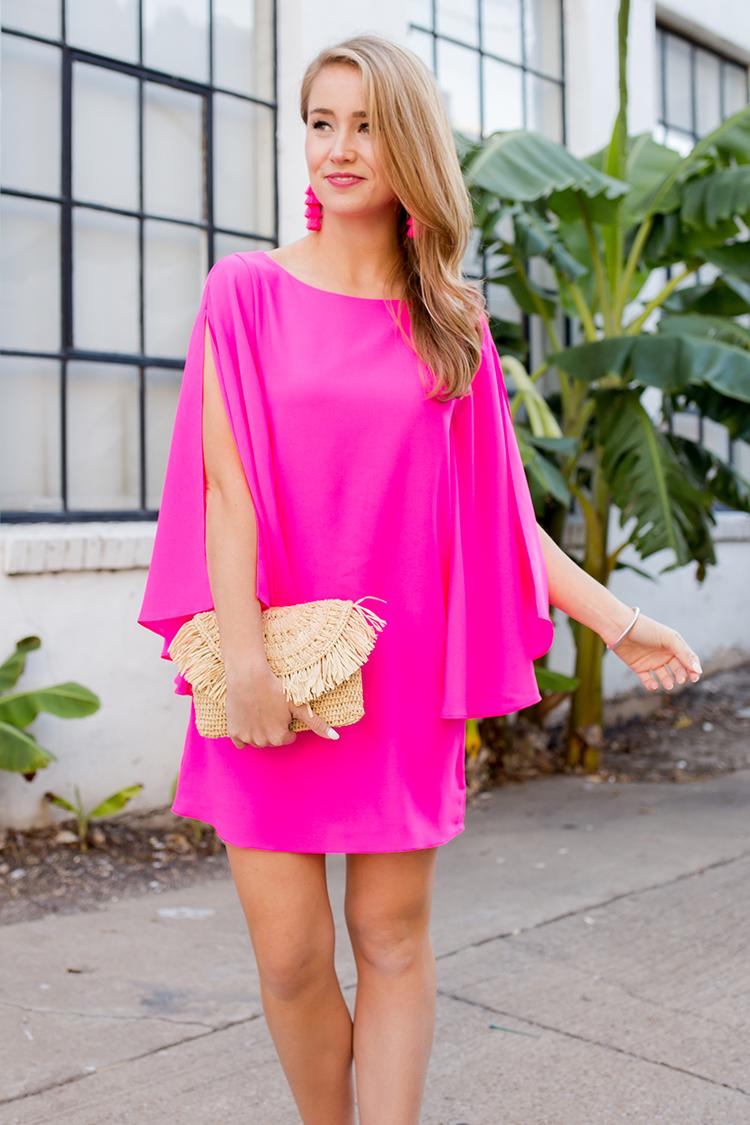 what to wear to summer weddings, neon pink dress, flutter sleeve dress, pink tassel earrings