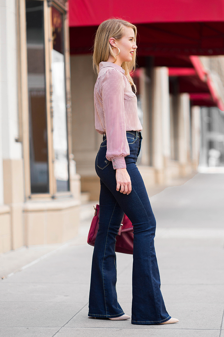 high-waisted flare jeans