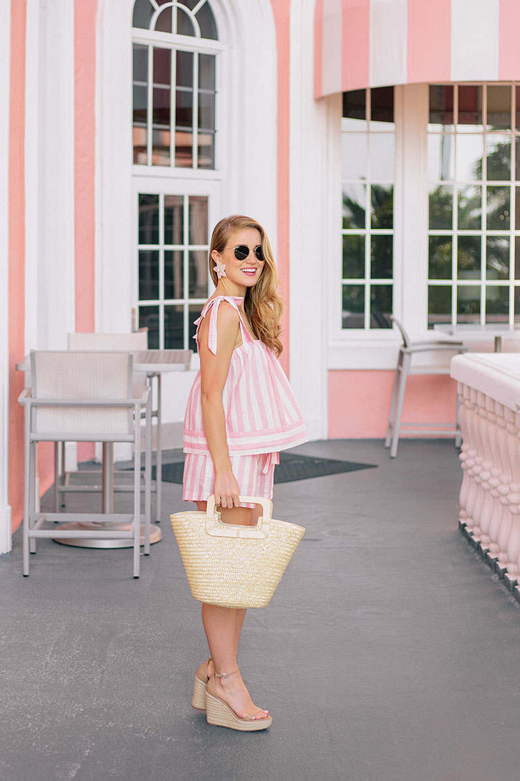 pink striped matching set