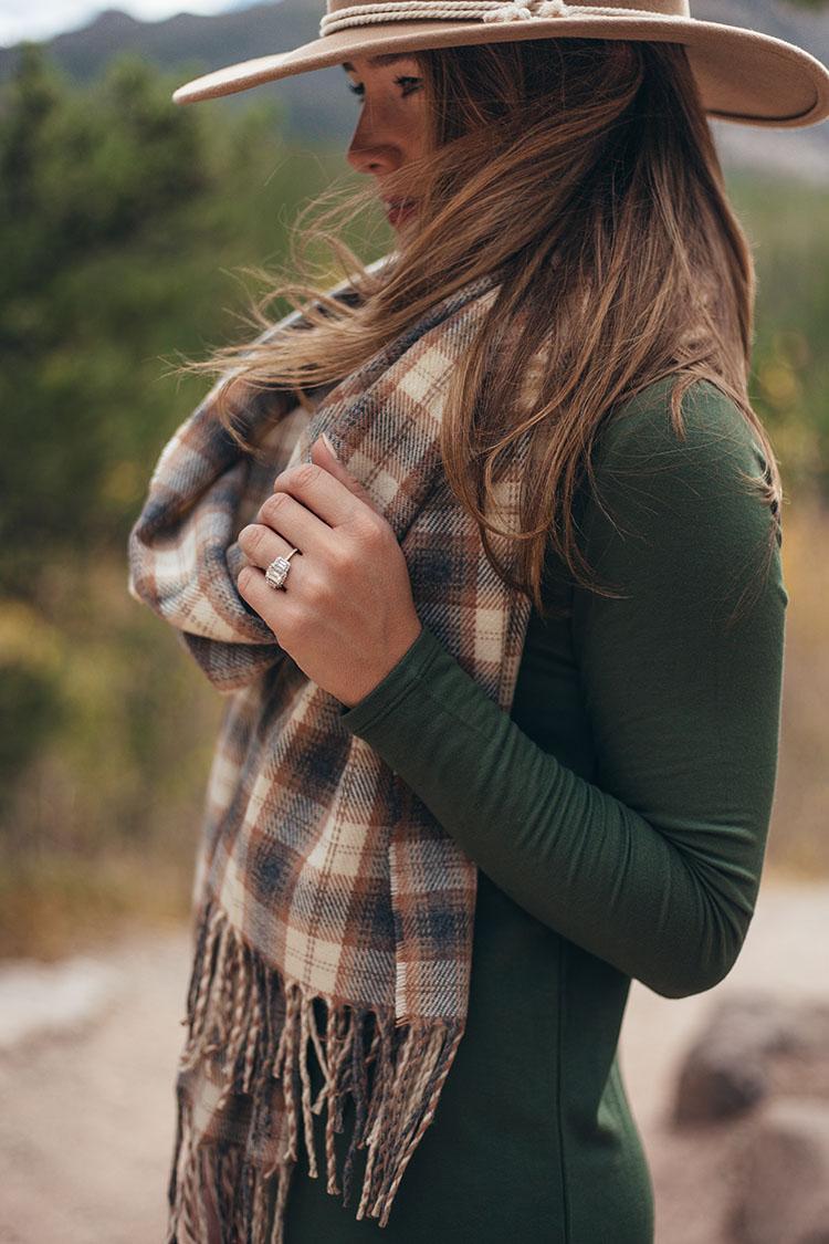 lou and grey long sleeve dress, brixton wool felt hat, emerald cut three stone engagement ring