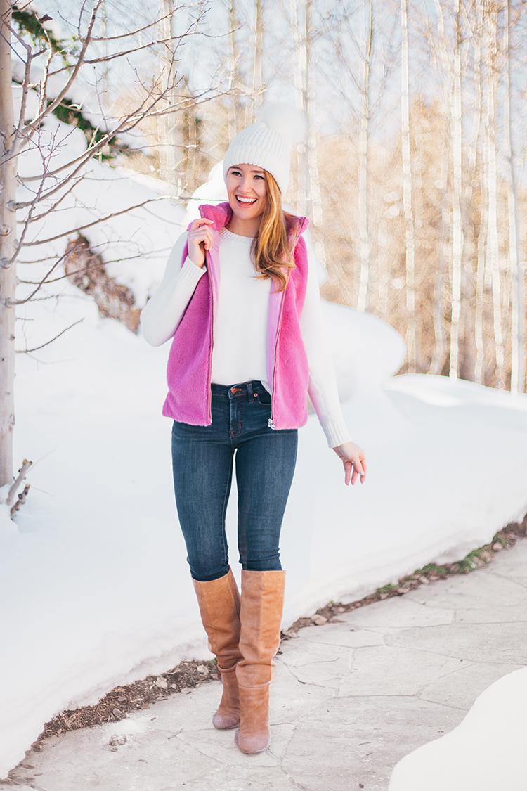 pink faux fur vest
