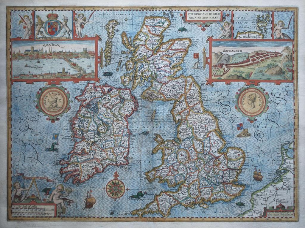 Map monsters  and explaining Ireland and Great Britain   LoneSwimmer Historical Map Great Britain John Speed 1610