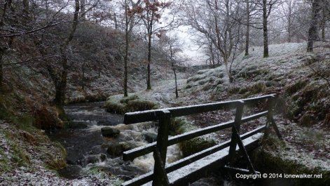 Wooden footbridge in the lower section of Crowden Clough
