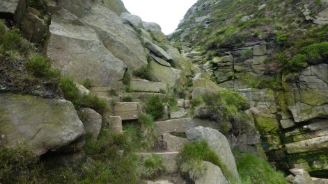 There is an easier descent into Crowden Clough, but I enjoyed this tricky scramble descent
