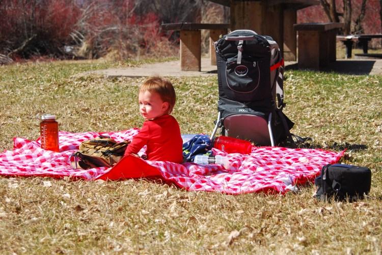 Abram on a picnic blanket