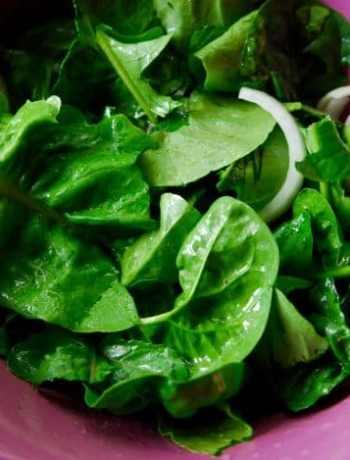 Garden salad with lemon vinaigrette in a bowl.