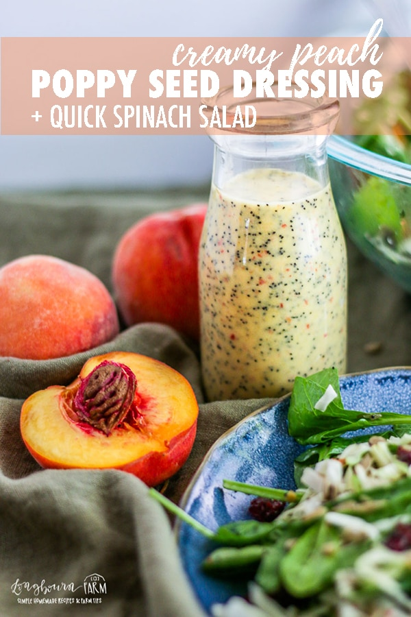 This creamy poppy seed dressing and quick spinach salad are always a huge hit and a total crowd pleaser. Easy and packed with flavor! #longbournfarm #quickspinachsalad #spinachsalad #easyspinachsalad #poppyseeddressing #creamysaladdressing #creamypoppyseeddressing #peachsalad #peaches #peachsaladdressing