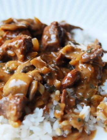 Close-up of easy beef stroganoff over rice.