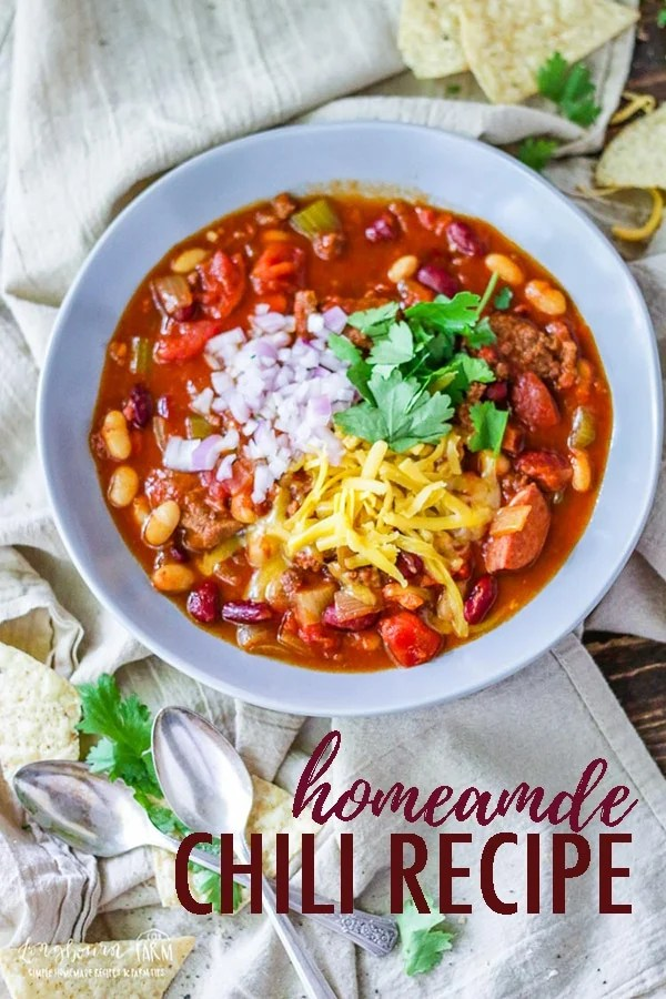 This hearty homemade chili recipe is sure to be a hit at your next family dinner. This easy chili is packed full of meat, beans, and tomato flavor! #chilirecipe #chilirecipeeasy #chilirecipebest #homemeadechili #homemadechilirecipe