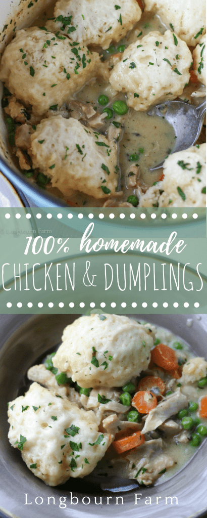 This easy chicken and dumplings recipe is totally homemade and is sure to become a family favorite. Packed with flavor, juicy meat, and tender veggies!