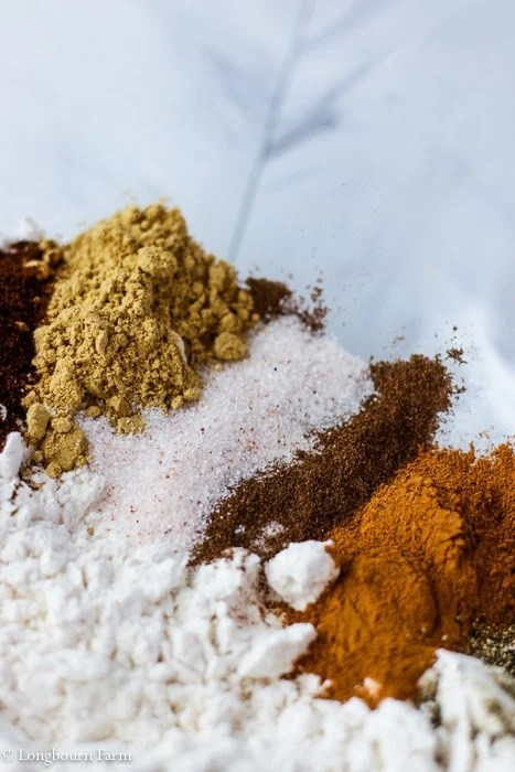 Flour and spices in a bowl.