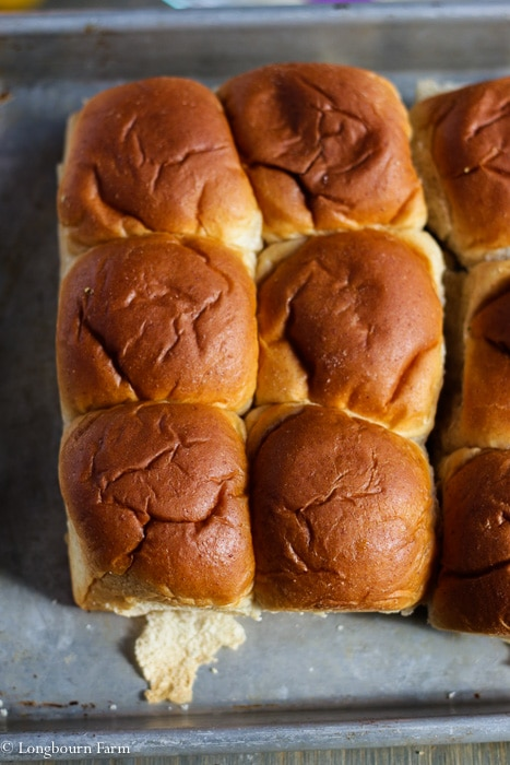 Buns ready for ham and cheese sliders.