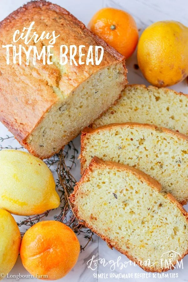 Citrus thyme bread is a fresh twist on a classic sweet bread. Quick to make, it's worth every minute of baking time! Packed with citrus flavor, customize it to your taste. #bread #lemon #orange #lemonzest #orangezest #zest #citrus #citruszest #citrusjuice #thyme #thymebread #lemonbread #orangebread #lemonthymebread #quickbread #baking #bakingday