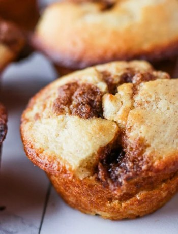 Close-up of a cinnamon muffin.