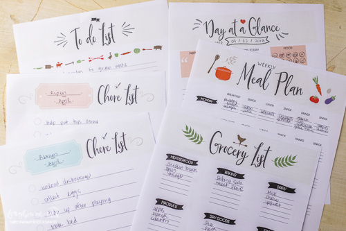 Household organization sheets from the Farmer's Friend Farm Planner.