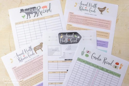 Animal records and animal tips sheets included in the Farmer's Friend farm planner.