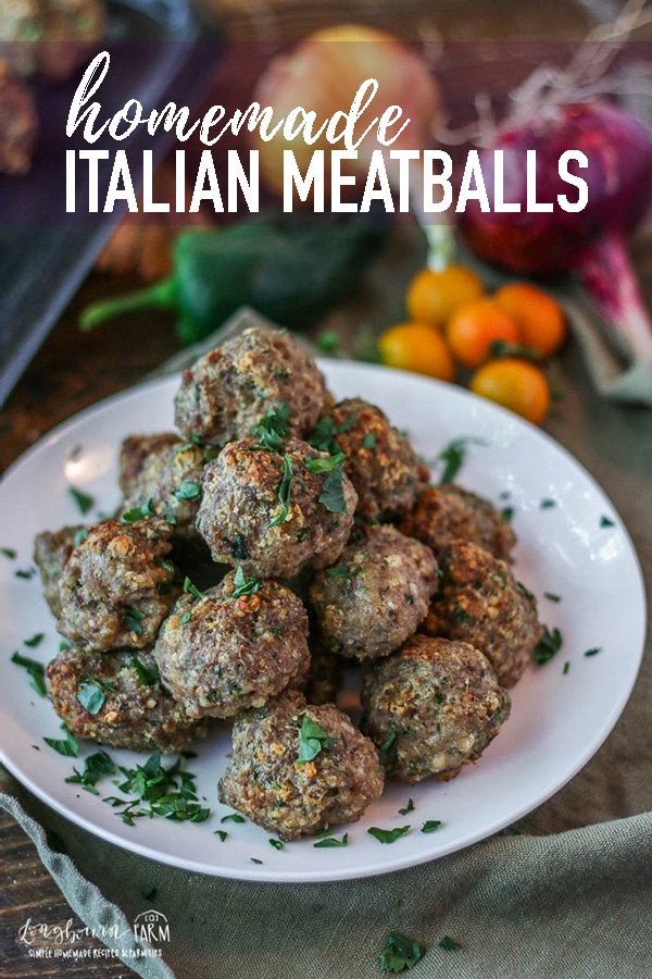 This homemade Italian Meatball Recipe is easy to throw together, amazing in a variety of dishes, freezer friendly and it uses a surprise but amazing ingredient! #longbournfarm #homemadeitalian #italianmeatballs #meatballrecipe #homemademeatballrecipe #homemademeatballs #italianmeatballrecipe #easymeatballrecipe #meatballs #easymeal #homemade #homecooked #homemademeal #homecookeddinner #simplefood #slowfood