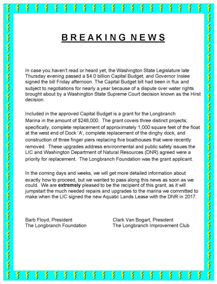 Breaking News about Longbranch Marina