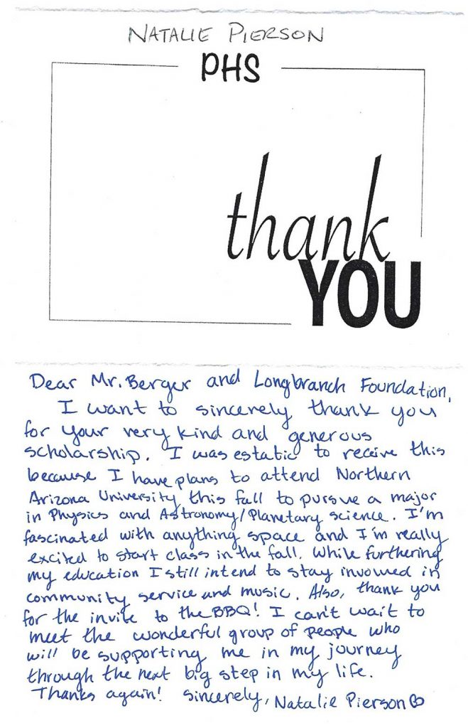 LIC scholarship thank you note Natalie Pierson