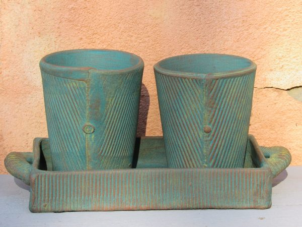 Terracotta tray with 2 pots for window sill
