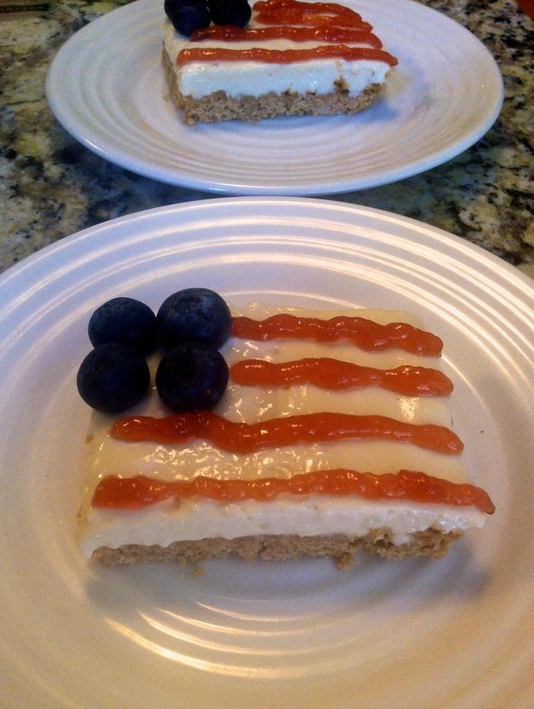American Flag No-Bake Cheesecake Bars, perfect for the 4th of July | longdistancebaking.com