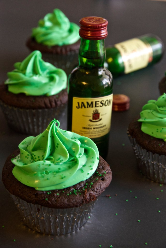 Whiskey Chocolate Cupcakes - with Jameson for St. Patrick's Day! | longdistancebaking.com