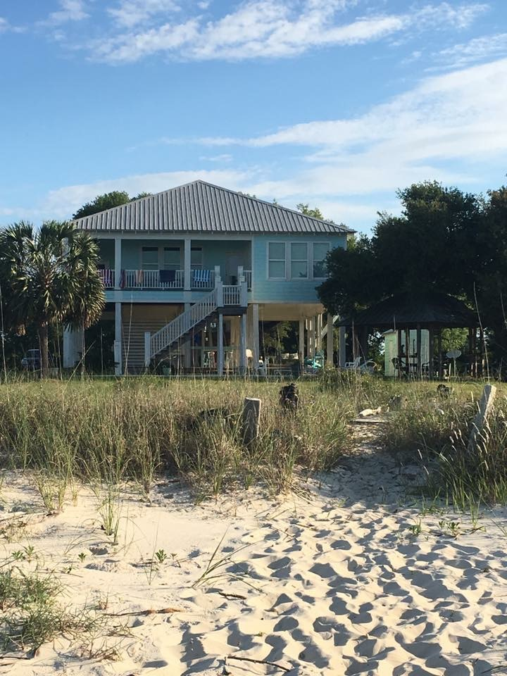 A view of the beach house from the water. Super cute, right??