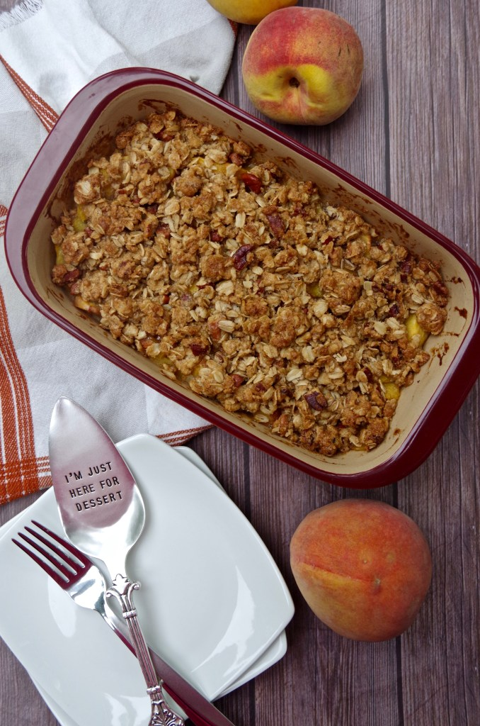 Small Batch Peach Crumble | longdistancebaking.com