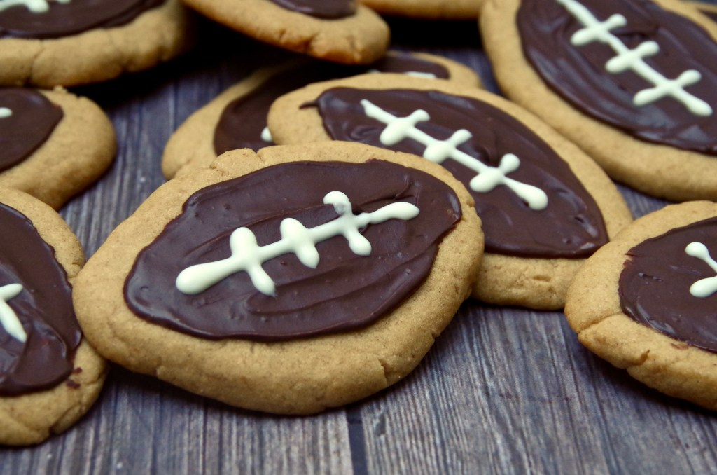 Peanut Butter Chocolate Football Cookies | longdistancebaking.com