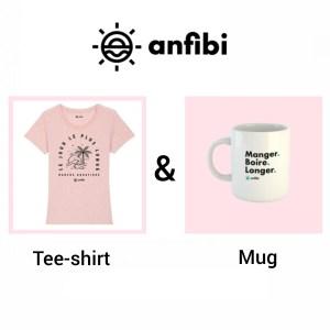 Pack Mug & Tee-shirt Femme «Le jour le plus longe» rose chiné, Anfibi