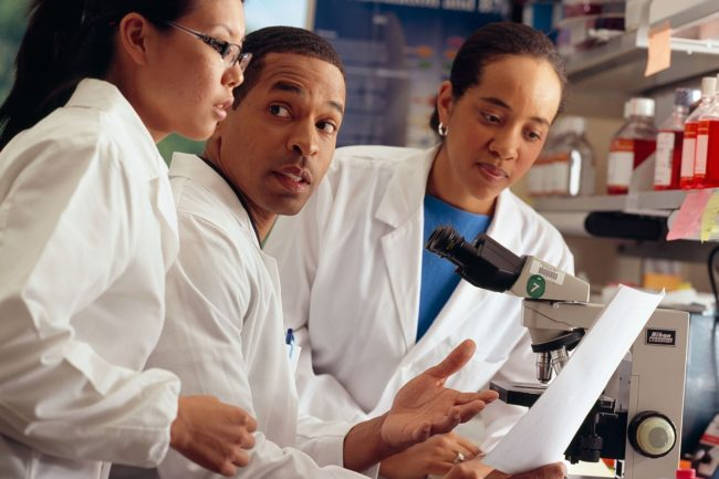 Researchers from National Cancer Institute (NCI) review documents.