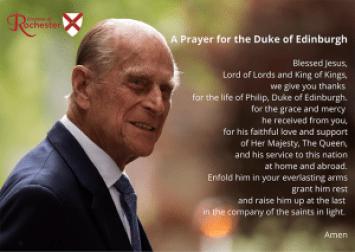 Photo of Duke of Edinburgh with Rochester Diocese prayer