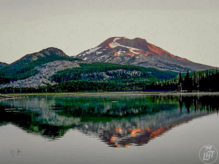 Our Oregon Scenic Bikeway trip. Sunrise at Sparks Lake in Central Oregon