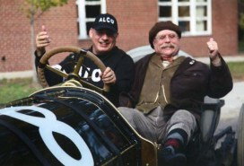 James Foote with Howard Kroplick, Town of North Hempstead Historian, sitting in the 1909 Alco-6 racer Black Beast. Photo courtesy of James and Joni Foote.