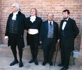 The Rushmores. From left: George Washington (Dean Malissa ), Thomas Jefferson (Bill Barker), Theodore Roosevelt (James Foote), and Abraham Lincoln (Jim Getty). Photo courtesy of James and Joni Foote.