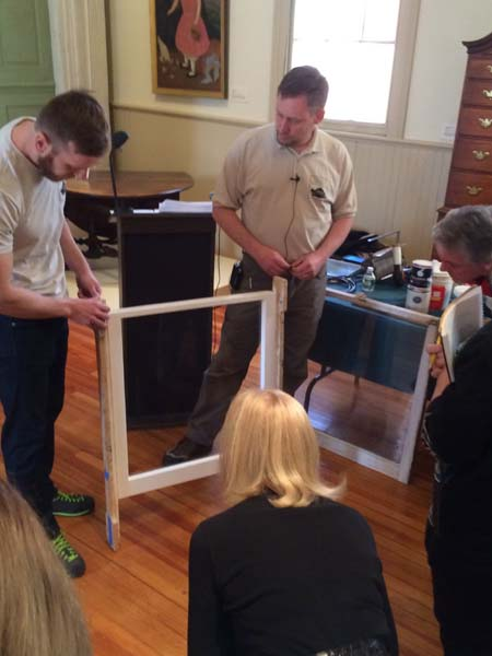 Window being restored during one of SPLIA's annual Spring Preservation Workshops. Photo courtesy of SPLIA.