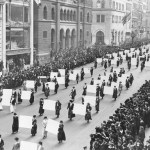 Suffragists parade down Fifth Avenue, 1917.