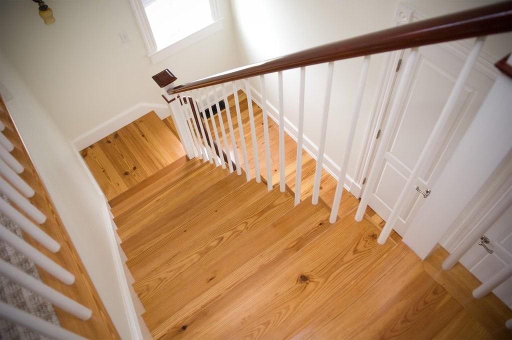 Longleaf Lumber Custom Reclaimed Wood Stair Treads Mouldings | Rustic Wood Stair Treads | Indoor Stair | Wood Plank | Interior | Reclaimed Wood | Carpet