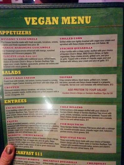 Hussong's menu