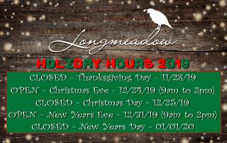 Longmeadow Holiday Hours 2019