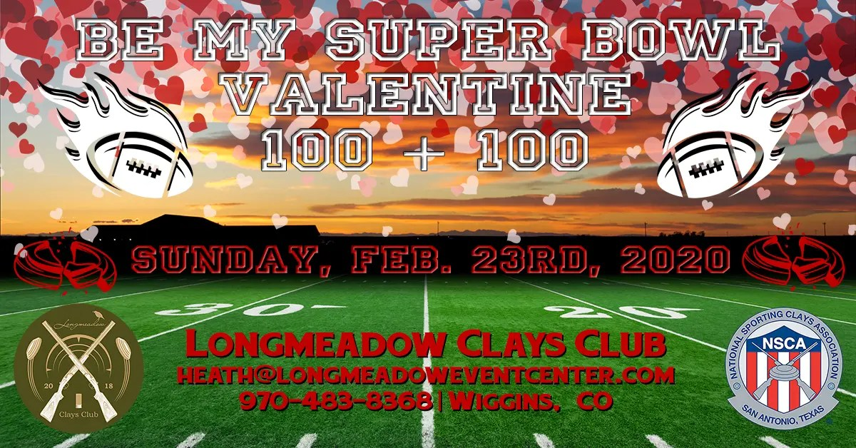 NSCA Be My Super Bowl Valentine 100 + 100 Event Flyer