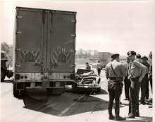 Sergeant Metzler assists State Police at an accident on Southbound I91 on May 12, 1964.