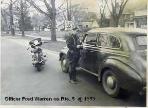 Officer Frederick Warren conducts a traffic stop on Route 5 (1959)