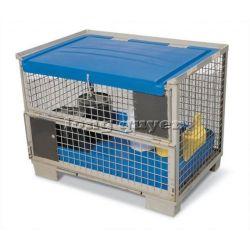 Pallet sắt pallet lưới thép có vách và nắp trong lưu trữ và vận chuyển