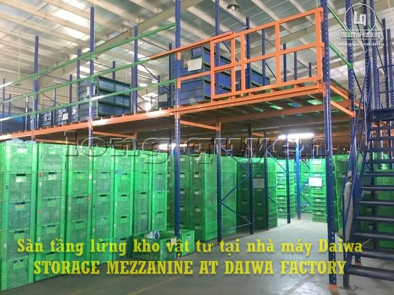Sàn tàng lửng kho vật tư khung giá kệ pallet lắp ráp tại nhà máy DAIWA (2)