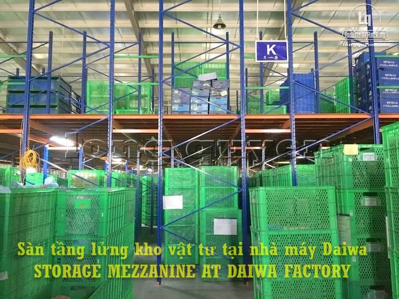 Sàn tàng lửng kho vật tư khung giá kệ pallet lắp ráp tại nhà máy DAIWA (5)