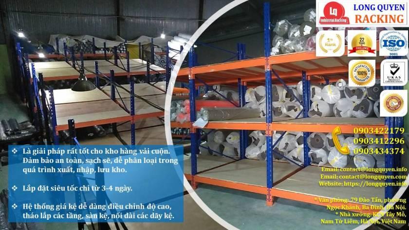 Giá kệ chứa vải cuộn kệ kho để vải công ty May Hưng Hà (2)