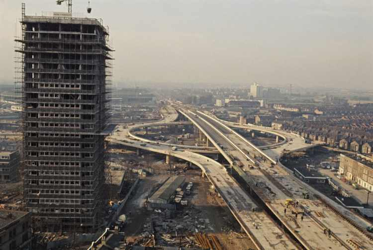 View of the Westway motorway flyover and the junction with the West Cross route, part of the A40 road out of London, under construction in North Kensington, London on 17February 1970. Rolls Press/Popperfoto via Getty Images/Getty Images
